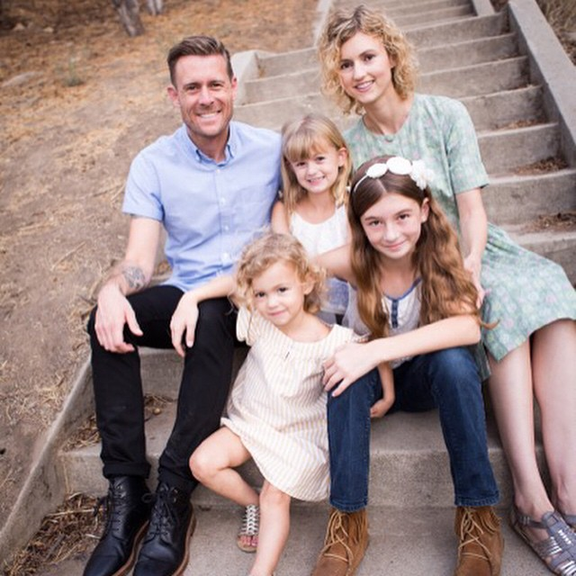 Tim and his wife Lindsey, with their three daughters Lily, Phoebe and Paige.