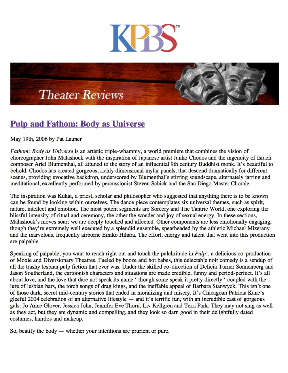 Composer Ariel Blumenthal Review of Fathom: The Body as a Universe KPBS