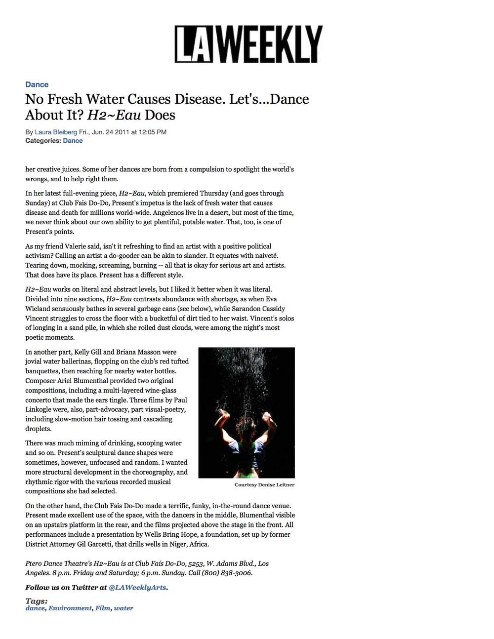 Composer Ariel Blumenthal Review: H2Eau featuring H2Awe for water piano LA Weekly