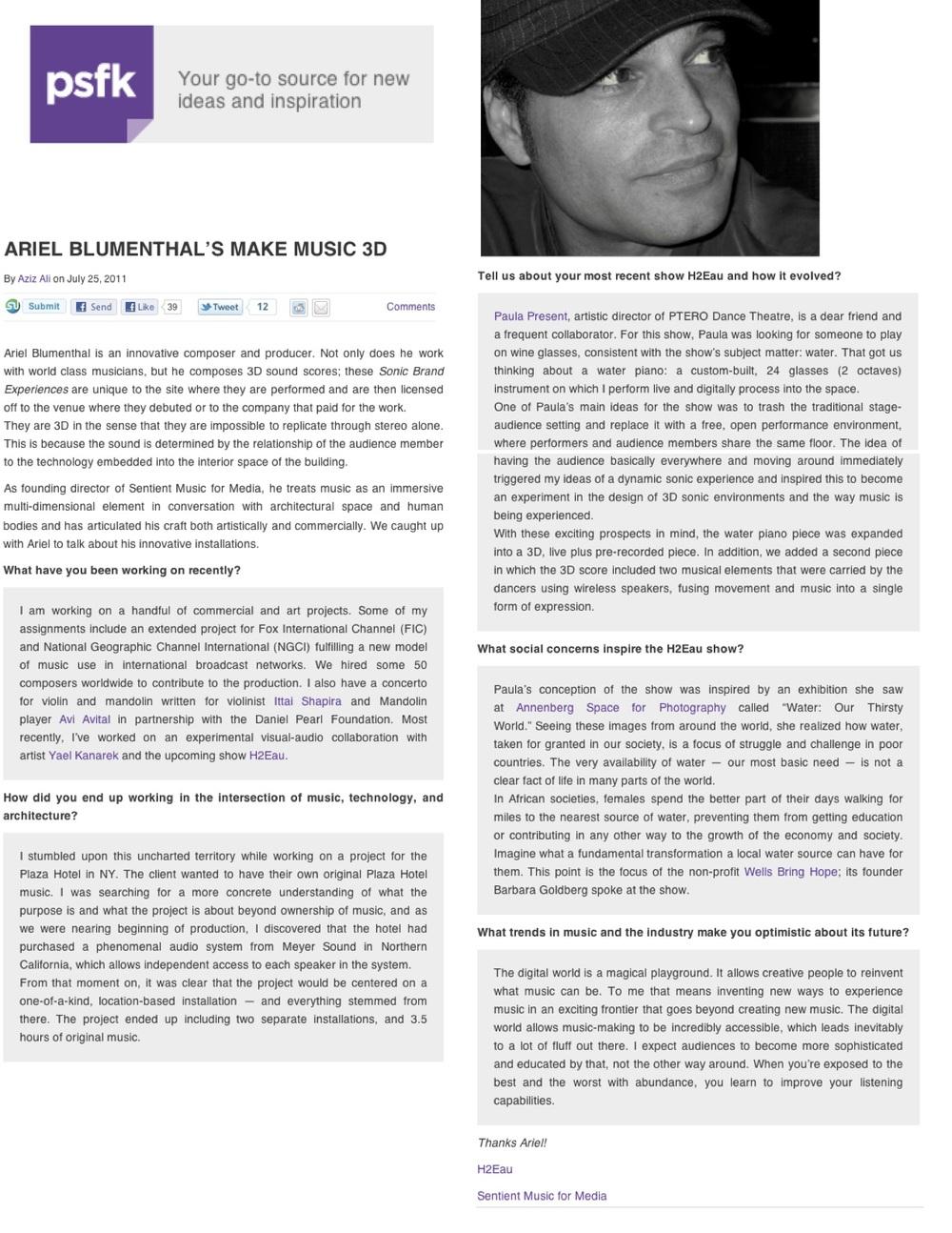 Composer Ariel Blumenthal Interview: 3 dimensional music PSFK