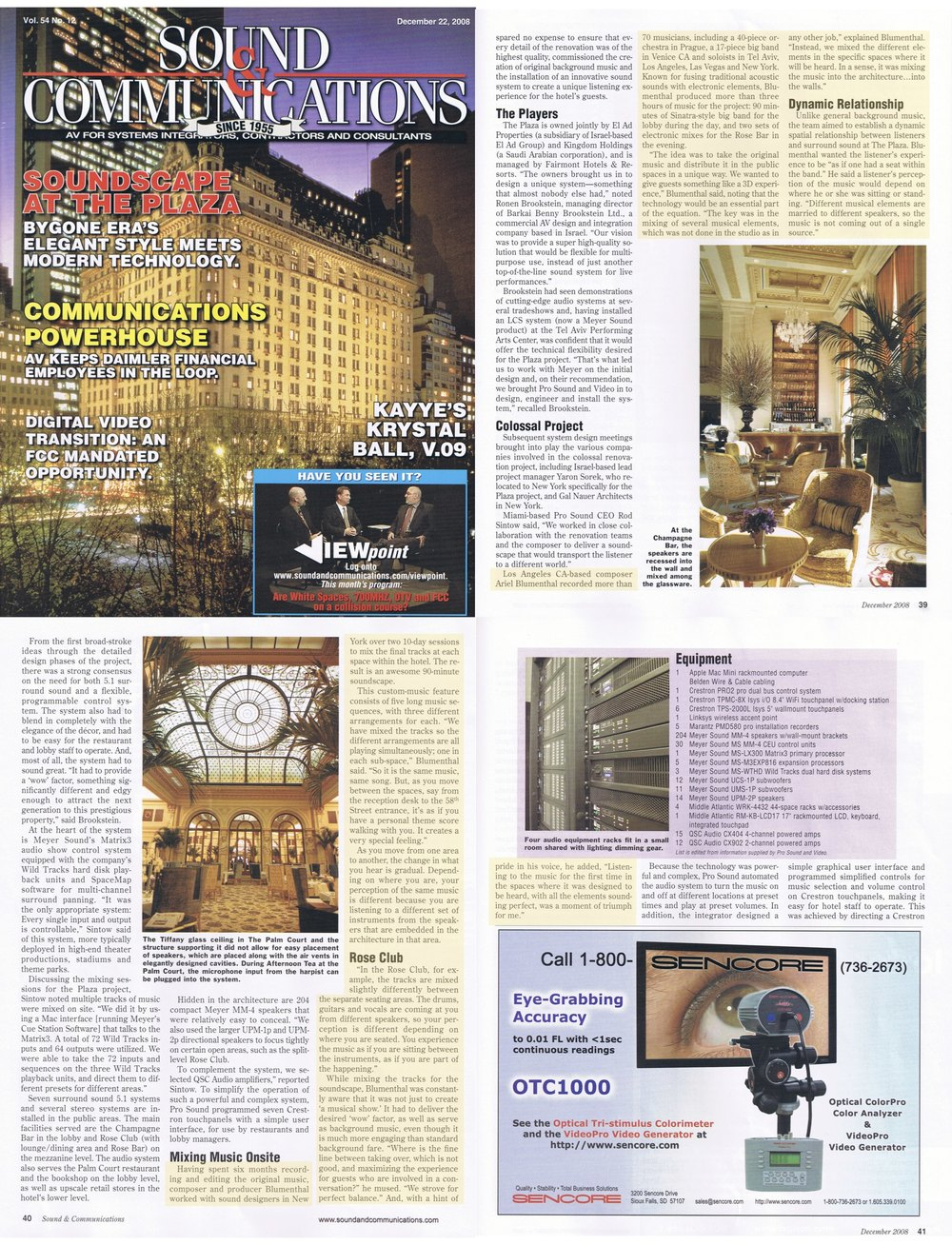 Composer Ariel Blumenthal Review: Plaza Hotel 3-dimensional music installations Sound and Communications