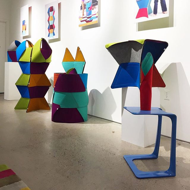 Thanks @playfeltro for including these bright blue #garrisons at @gravitypope_shop as part of @todesignoffsite. What color would you want for your garrison?? #prototype #torontodesign #feltro #garrison #contemporarydesign #the6ix #toydesign #innovation #colour
