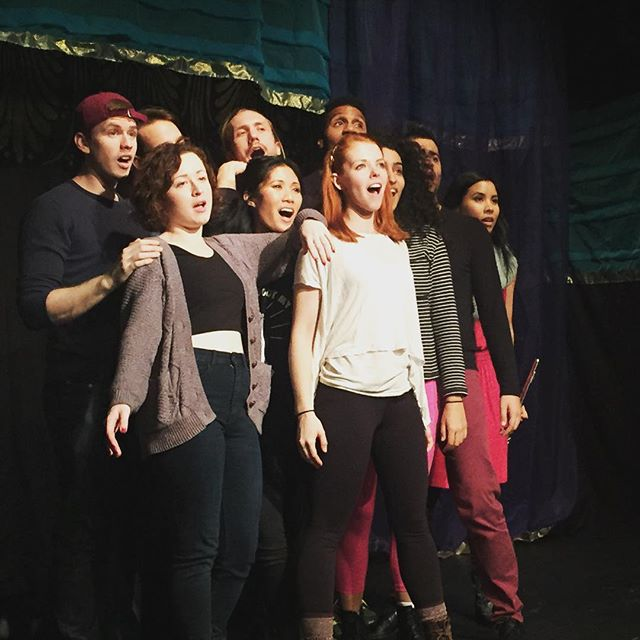 Action shot of our cast singing their hearts out! It's an amazing song composed by one of our lovely actors! Be sure to check it out. Shows run Thursday-Sunday! #lysistrata #13thstreetrepertory #weliketohavefun #theatre #instadesigner