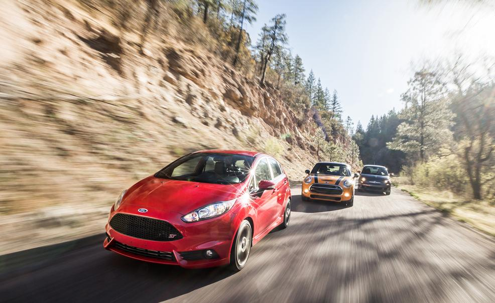 Source: caranddriver.com ( 2014 Ford Fiesta ST vs. 2014 Fiat 500 Abarth, 2014 Mini Cooper S Hardtop )