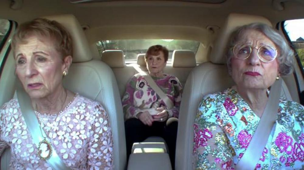 "Unlike the Passat TDI these three old wives are sitting in, the Passat Limited Edition comes only with a 1.8T gasoline engine. ""It's a puh-SAAT!"""