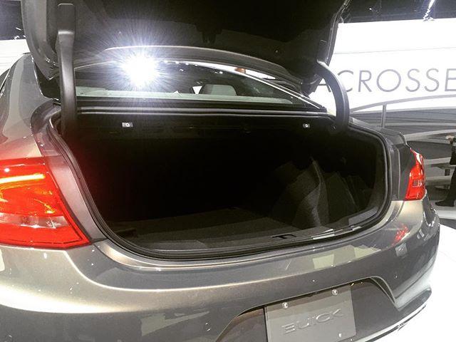 @leasehackr: Trunk doesn't look as big as Buicks of yore. But GM tells me four golf bags will fit. #BuickLaCrosse #LAAutoShow