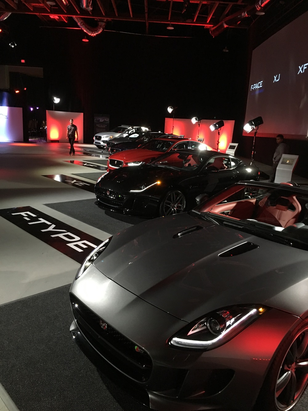 The entire line-up of Jaguars on display -- including the brand new F-PACE SUV and XE sports sedan.