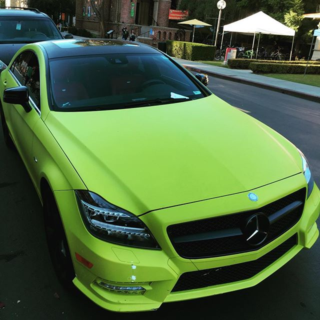 Fortunately, when you lease, the residual value is the same regardless of color, although there is no discount for the parking ticket, which he got for parking in the red zone. #mercedes #benz #cls #usc #yolo