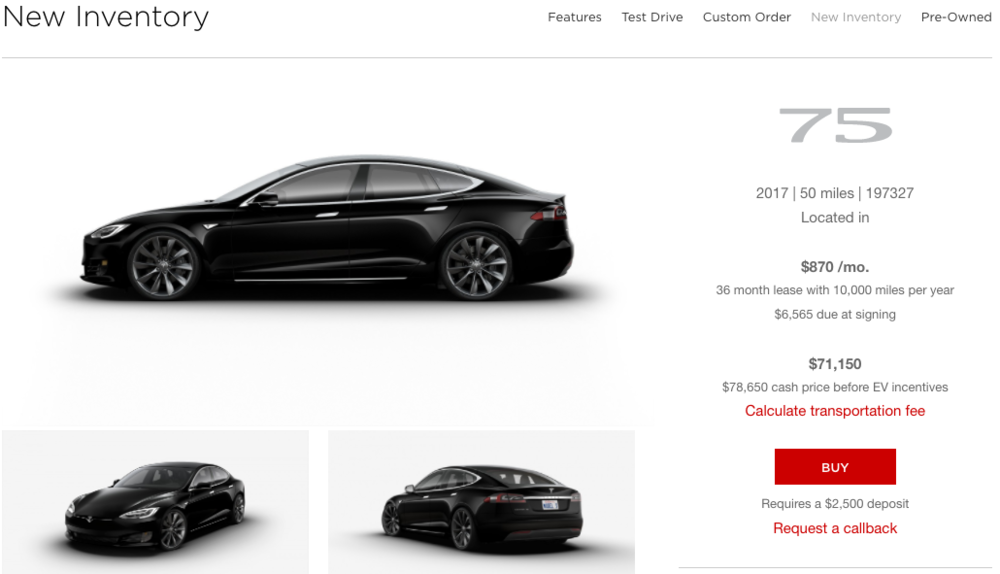 Above: New Inventory Model S ($85,250 configured MSRP; $78,650 selling price): $870/month and $6,565 upfront Below: Current Pricing Model S ($78,760 configured MSRP): $959/month and $6,654 upfront Taxes, registration, and acquisition fee extra.