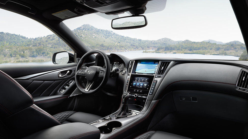 Face-lifted 2018 Q50 features a sportive and premium interior, now with more stitching! (source: infinitinews.com)