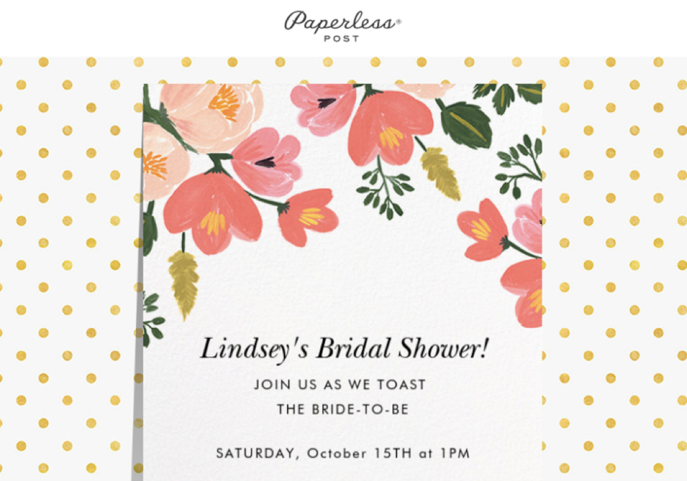 Paperless Post bridal shower invite