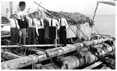 The real crew of the Kon-Tiki setting out on their voyage in 1947