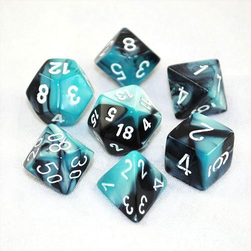 You can easily get a full set of polyhedral dice, in almost any colour or pattern (like these from Chessex)