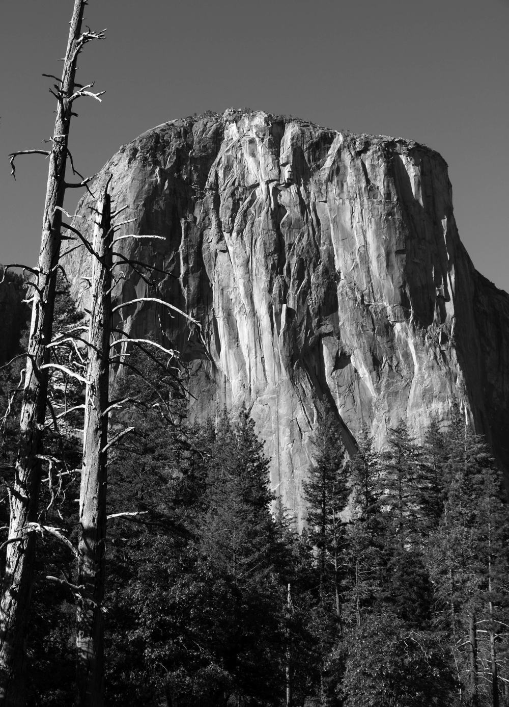 The largest exposed mass of granite on planet Earth, El Capitan rises 3,500 feet above the 4,000-foot floor of Yosemite Valley.