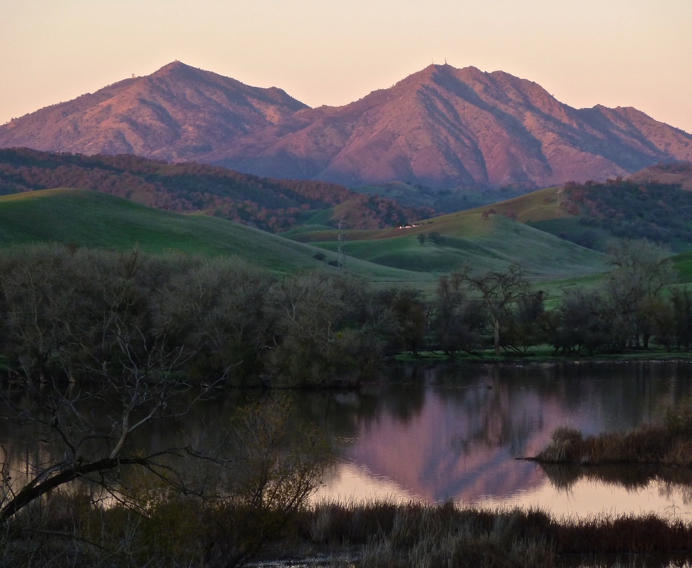 The purple majesty of Mt. Diablo at sunrise. Viewed from Marsh Creek Reservoir.