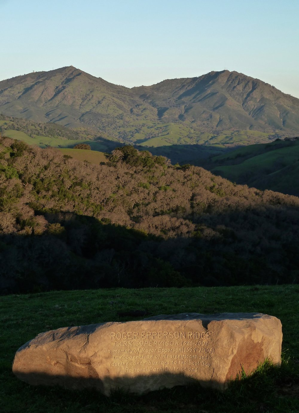 Sunrise, Roger Epperson Ridge. Epperson supervised Round Valley, Black Diamond Mines and Morgan Territory for the East Bay Regional Park District. You might not have heard of him before now, but if those parks occupy a special place in your heart, you've seen his handiwork all over the place.