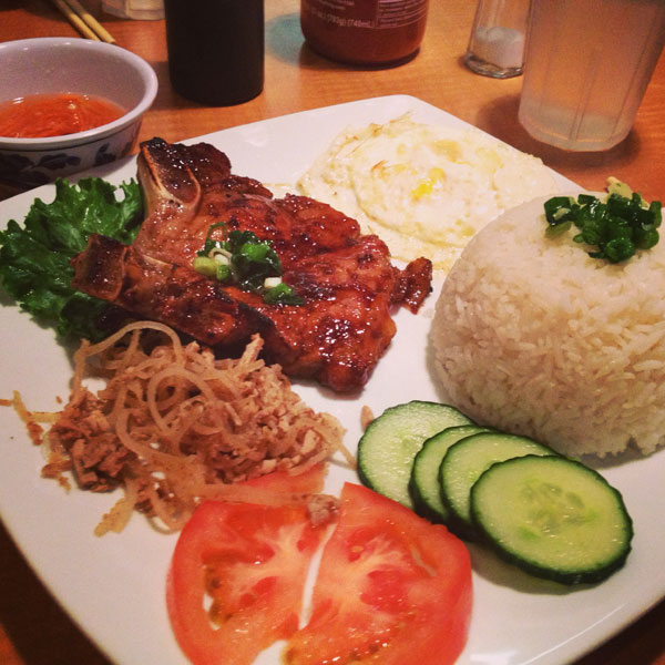 Cơm Bì Sườn Nướng much easily ordered as C1 or Chargrilled pork chops & Julienne pork on jasmine rice