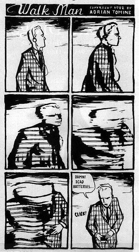 An early comic from  Pulse!  magazine by Adrian Tomine, from 1992