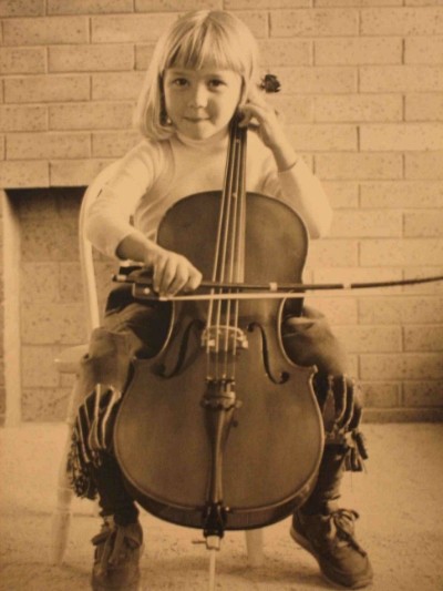 Hannah playing the cello, age 5