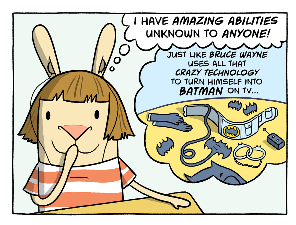 The elaborate Phonic Ear hearing aid and microphone set-up had Cece feeling like a superhero with superpowers! But most of the time she just felt like a confused kid. Was she deaf? And what did that mean? Art  ©   Cece Bell.