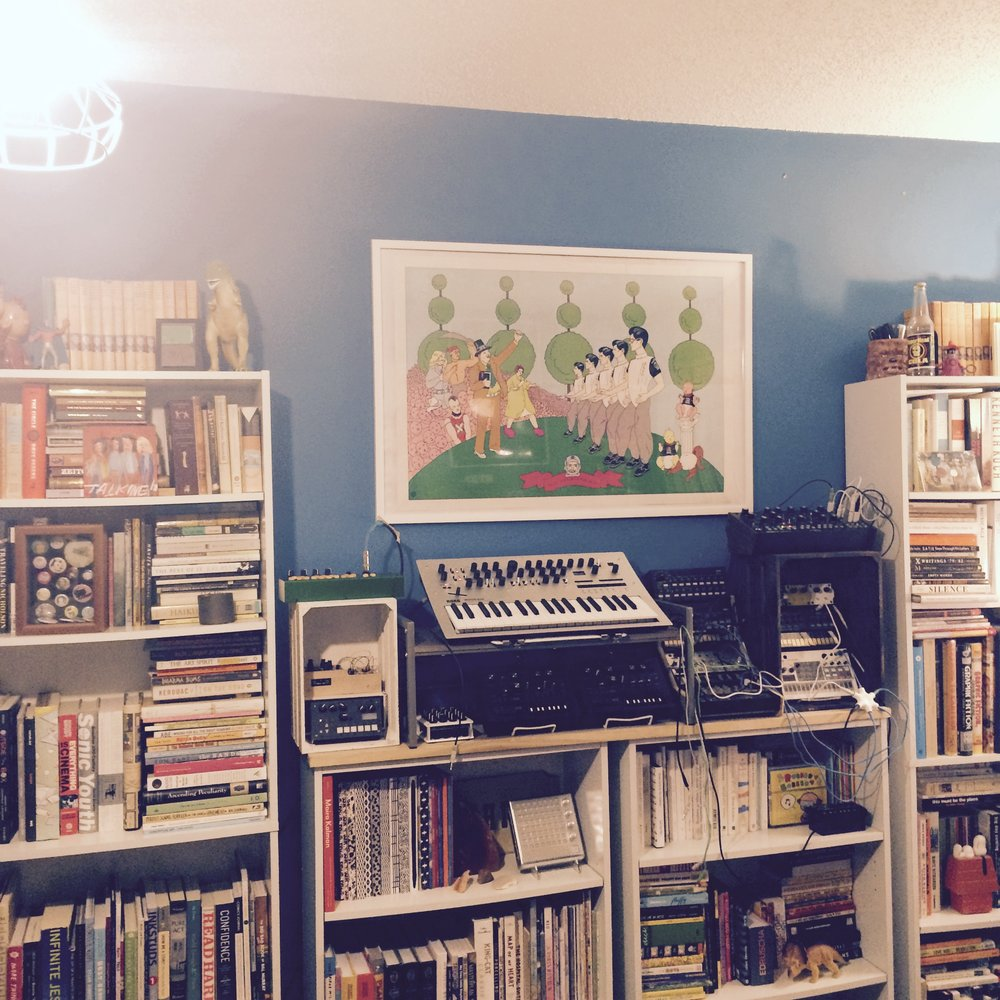 Todd's synthesizers are right on his studio bookshelf.