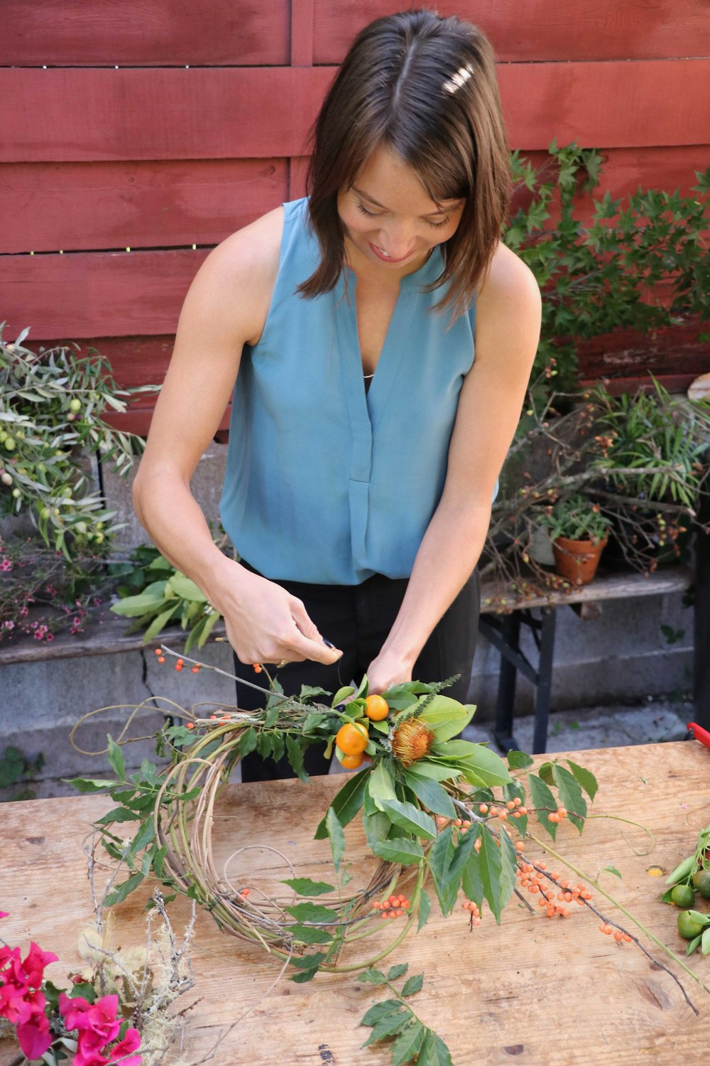 Here I am making the beginning of a fall wreath