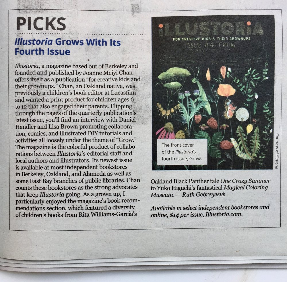 "Review by Ruth Gebreyesus for  East Bay Express,  who notes that ""As a grown up, I particularly enjoyed the magazine's book recommendations section, which featured a diversity of children's books from Rita Williams-Garcia's Oakland Black Panther tale  One Crazy Summer  to Yuko Higuchi's fantastical  Magical Coloring Museum ."""