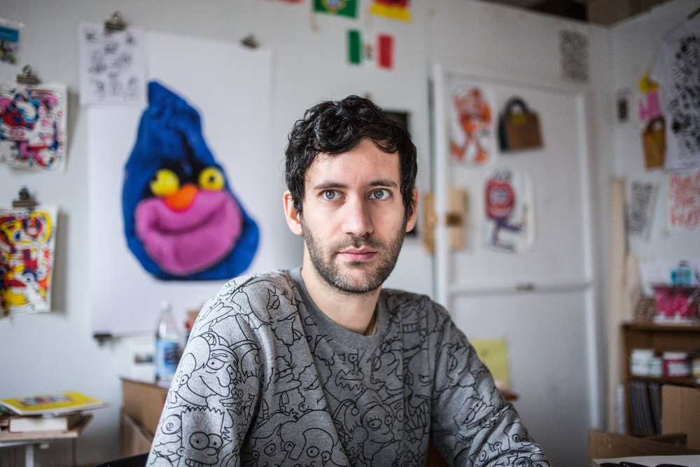 Jon Burgerman in his studio. Photo © Bas Berkhout