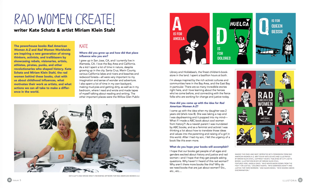 A spread from our interview with rad women Kate Schatz and Miriam Klein Stahl of  Rad Women Worldwide  and  Rad American Women A-Z
