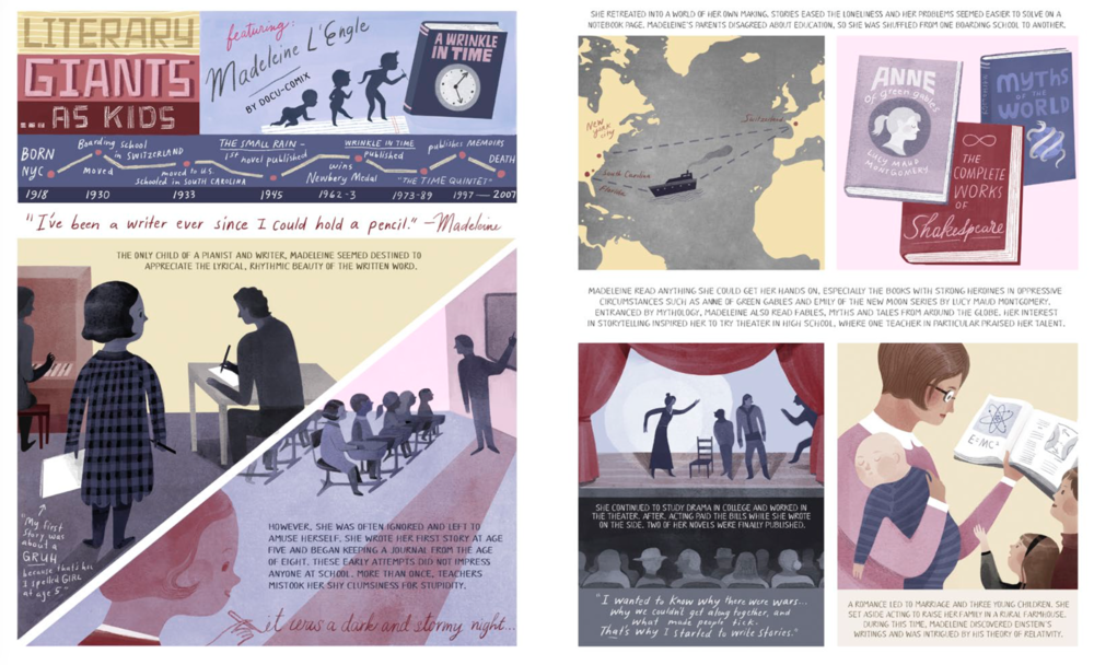 Spread from Literary Giants as Kids: Madeleine L'Engle, by Elizabeth Haidle for issue #5: Motion