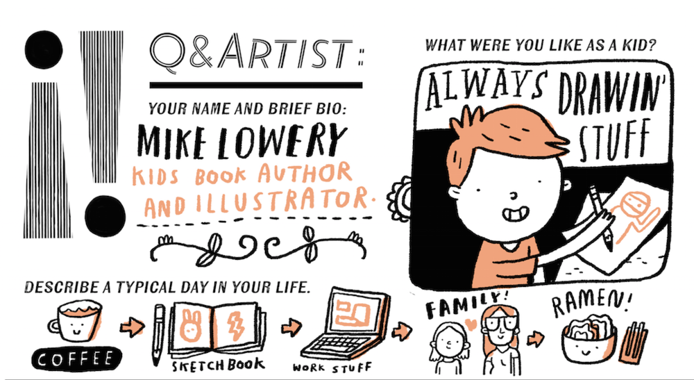 Sneak peek from  Issue 5: Motion : Mike Lowery doodles his answers to our Q & Artist interview.