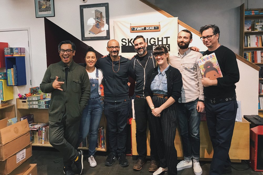 Junot Diaz pictured with Skylight Books staff