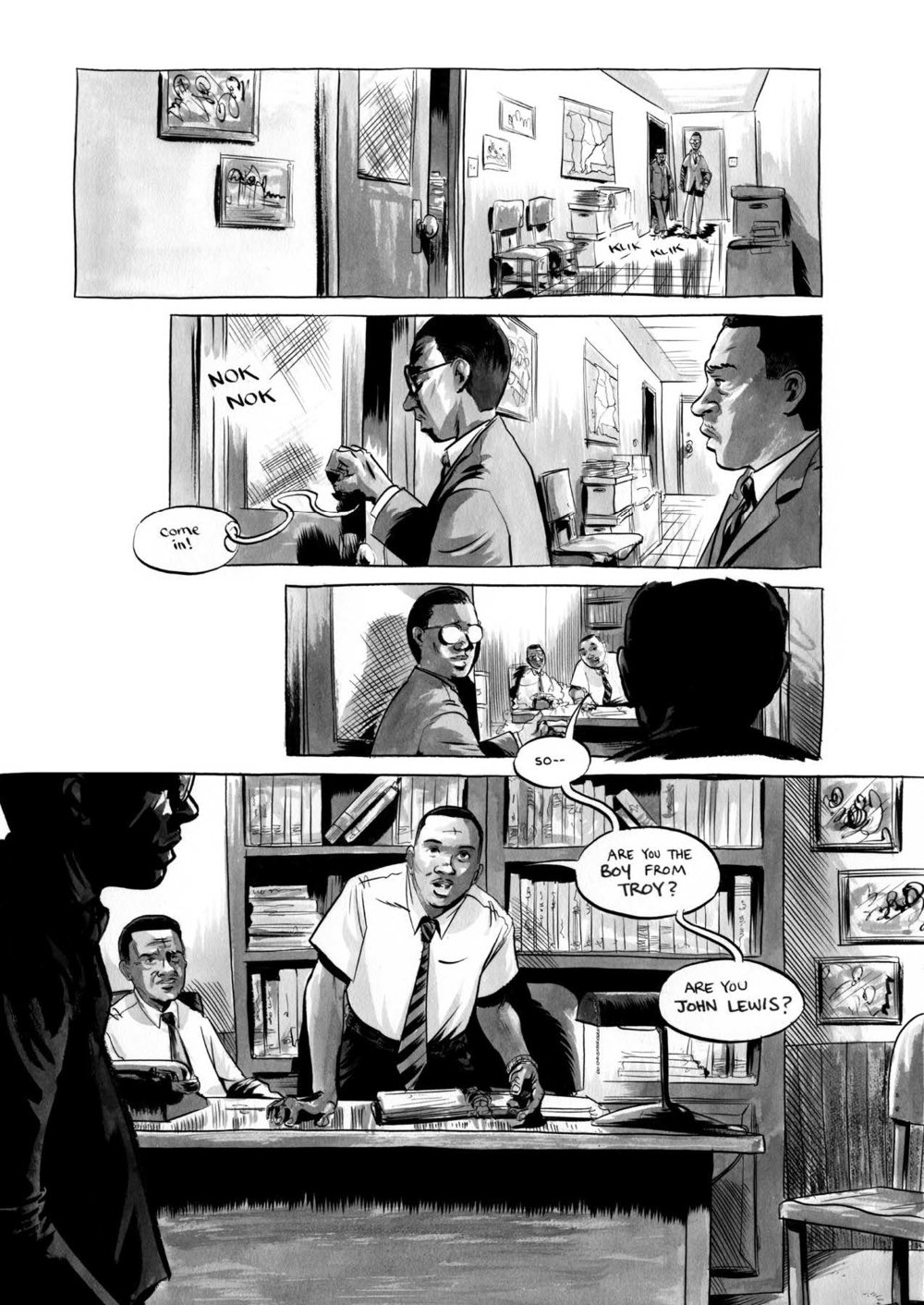 segment from  March: Book One  by Congressman John Lewis, Andrew Aydin, and Nate Powell