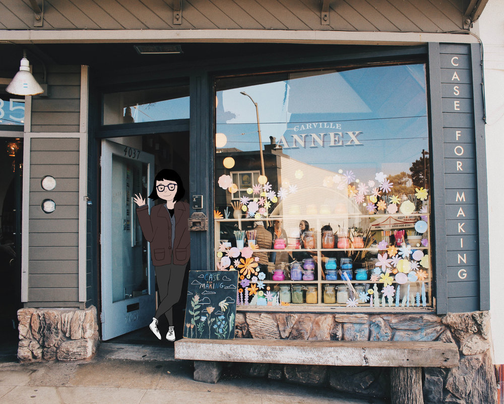 art & photo by Alexandria Lai; a small rendition of Alexis in front of her shop ☻