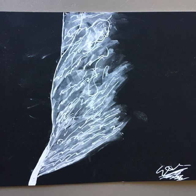Elizabeth's son Eli made this luminescent drawing of a feather using a White Gelly Roll Pen on black Strathmore paper.