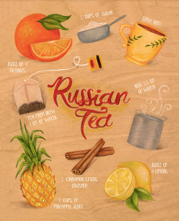 """The recipe I chose to illustrate is a very important one. During the holidays my family and I always make this yummy tea together as a way to bond. We take turns juicing the fruit while mom gets the other ingredients ready. Its always a wonderful time and the house is always left smelling delicious!"" —Lana Laughlin  @lanalaughlinillustration"