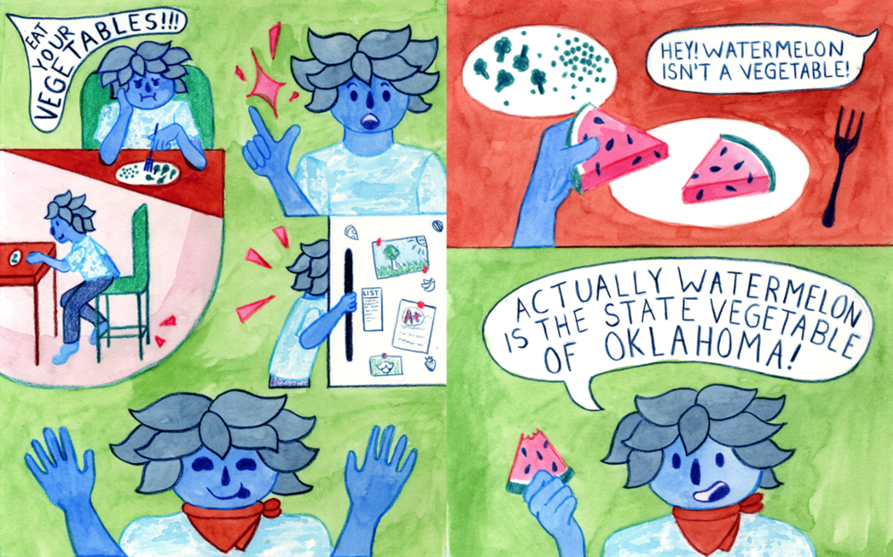 """Because I'm originally from Oklahoma, I chose to bring up one of the wackiest facts I know about the state! Most people don't believe me when I tell them about my state vegetable, so I created a colorful comic about it!"" — Parker  @Hardcoreparker"