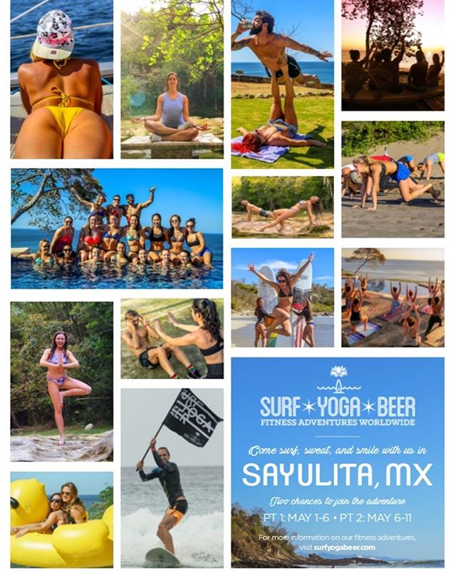 Come join me as I lead an SYB Retreat in Sayulita, Mexico!  Trip dates are May 6-May 11.  We will be surfing, doing yoga, playing beach games and drinking beer with old and new friends!! Go to www.surfyogabeer.com to sign up now! Spots are filling up quick.  @surfyogabeer #surfyogabeer #surf #yoga #beer #mexico #fitness #beach #sun #trip #friends #waves #fitness #sand  #travel #retreat