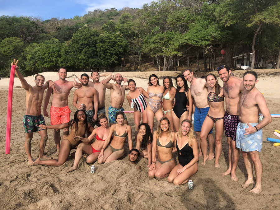 The group on a private beach together