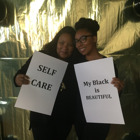 "Me and my wellness mama (owner of Needful Things Natural Home and Body Care) at the ""Selfie Care"" station"