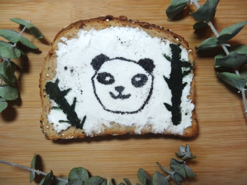 Hand drawn activated charcoal panda toast with  Groovy Greens Superfood Powder  bamboo!