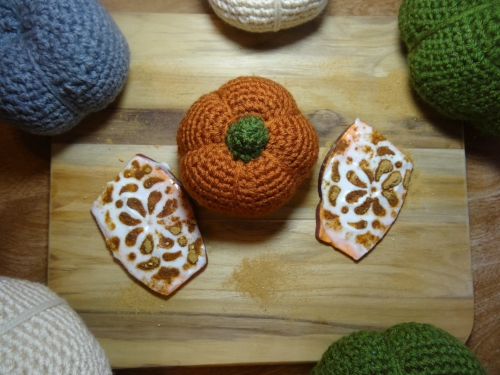 Pumpkin Spice Superfood Sweet Potato Toast pictured with my handmade crochet pumpkin