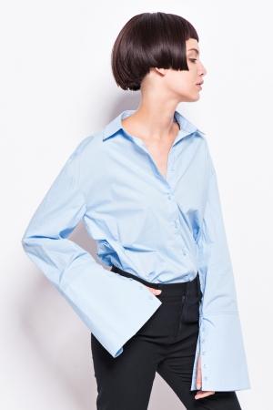 Sky Blue Flare Sleeve Shirt with Cuff Slit ( 47$ )