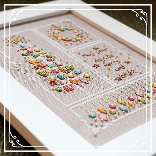 Vintage Merry and Bright cross stitch pattern designed by Shannon Wasilieff. Click photo to take you to the listing to purchase.