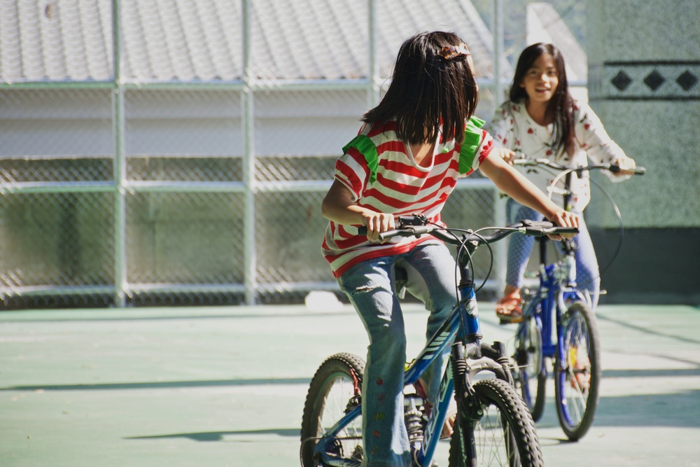 Kids on bikes in Maolin Taiwan