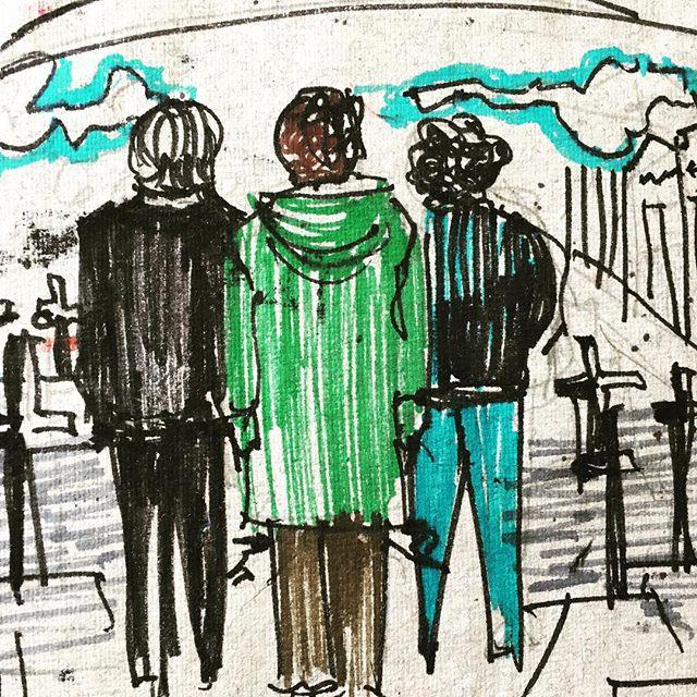 Boceto de la primera escena de #Papelesenelviento #sacheri #drawing#dibujo#sketch#sketches#sketchbook#markers#art#duelo @eduardo_sacheri @luy_troncoso