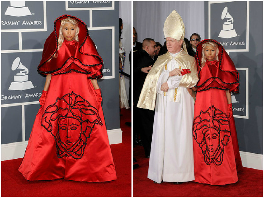 """At the 2012 Grammys red carpet Nicki Minaj twisted heads by arriving with a """"Pope"""" impersonator and wearing an Atelier Versace embroidered-silk cape."""