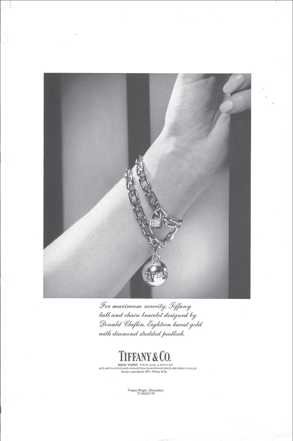 1971 ad in American Vogue; bracelet that inspired the Tiffany Hardwear collection.