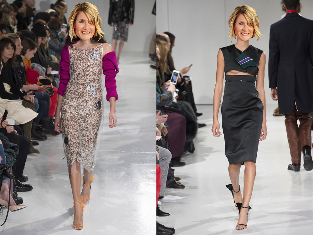two dresses from the same collection that are wrong-hairstyle proof