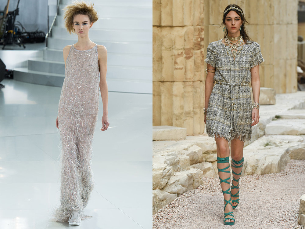 Left: Look 60 from the CHANEL Spring/Summer 2014 Haute Couture collection.   Right: First look from the CHANEL Resort 2018 Ancient Greece-inspired collection.